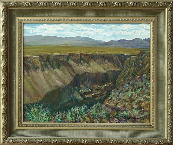Distant mountain, wide plain, deep gorge