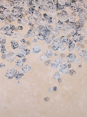 Black white and off-white with gold accents acrylic floral painting by Kristin Deluga