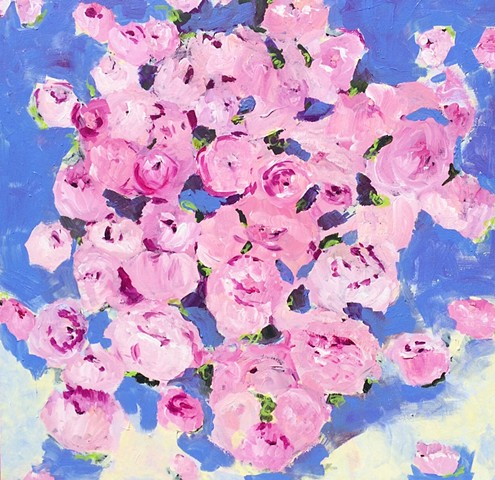 abstracted floral acryilc painting by Kristin Deluga