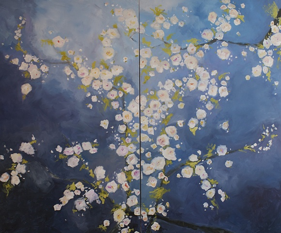 Abstracted floral acrylic painting by Kristin Deluga cherry blossoms