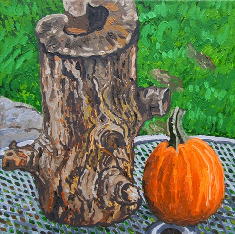 stump and pumpkin