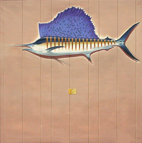 sailfish oil on canvas by michael paulus