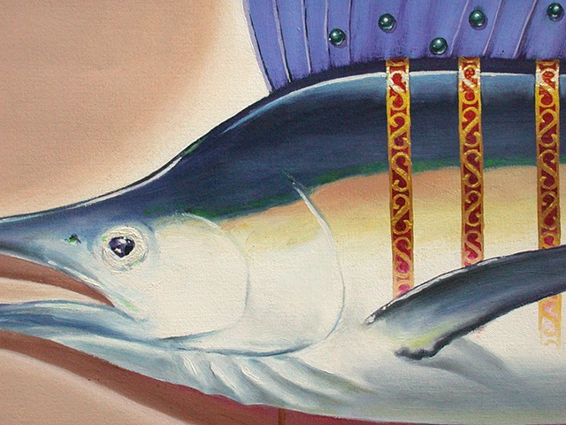 sailfish detail oil on canvas by michael paulus
