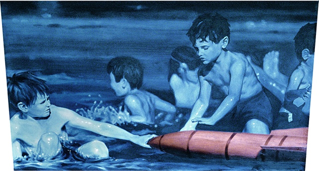 boys in water oil on canvas by michael paulus