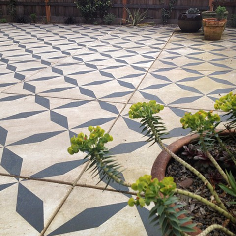 painted pattern.  cement slab patio
