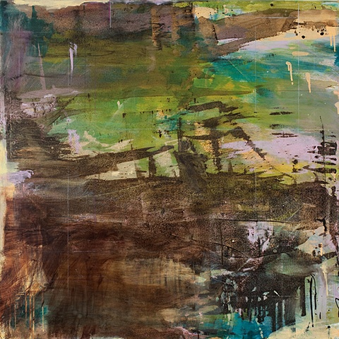 poured scraped nature landscape asian abstraction poetry