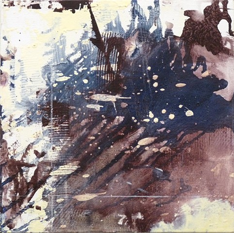 poured and splashed painted small painting of the cosmos