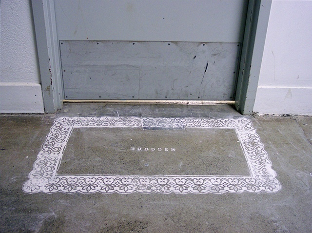 Lisa Demagall, art, dust, installation, lace, rug, trodden, sculpture, ephemera, floor, threshold, stencil, domestic