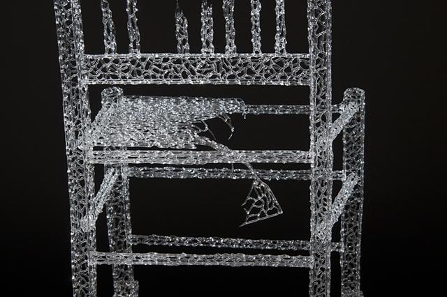 Lisa Demagall, Glass, art, chair, rocking chair, flameworking, lampworking, borosilicate, decay, sculpture, installation