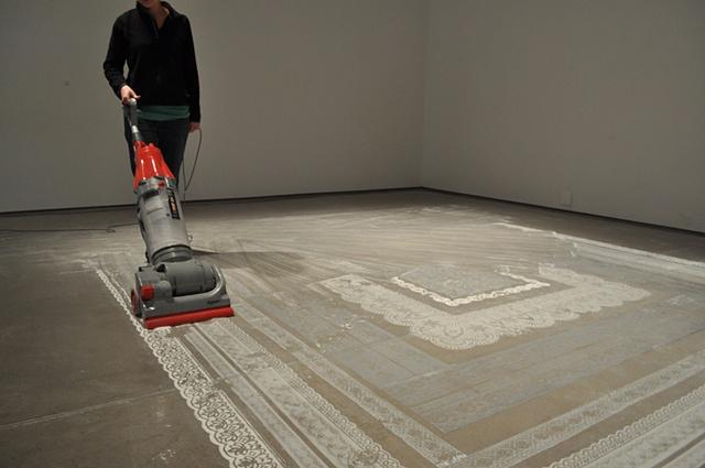 Lisa Demagall, Dust, installation, lace, rug, sculpture, ephemera, plaster, charcoal, domestic, art