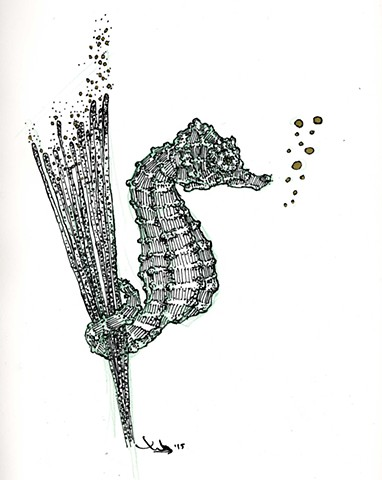 Seahorse pentaptych: 'Young Hippocampus Hippocampus'.