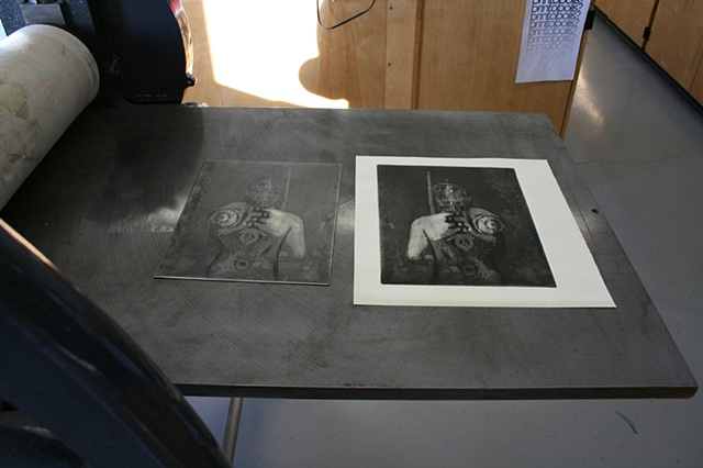 Mark Adams' etching plate and print