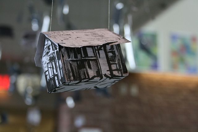 Close-up view of Jenny Dywer's lithographic houses