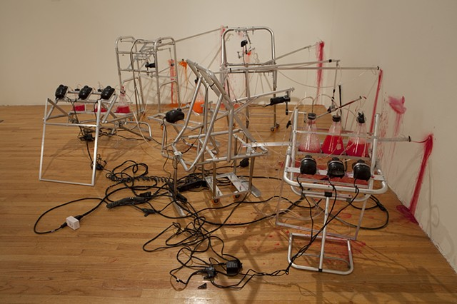 Mark Porter kinetic sculpture, kinetic sculpture, Mark Porter, performative sculpture, found objects