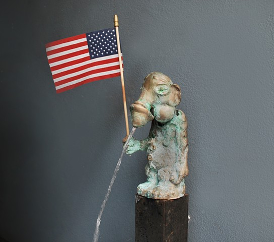Bronze Fountain with Flag