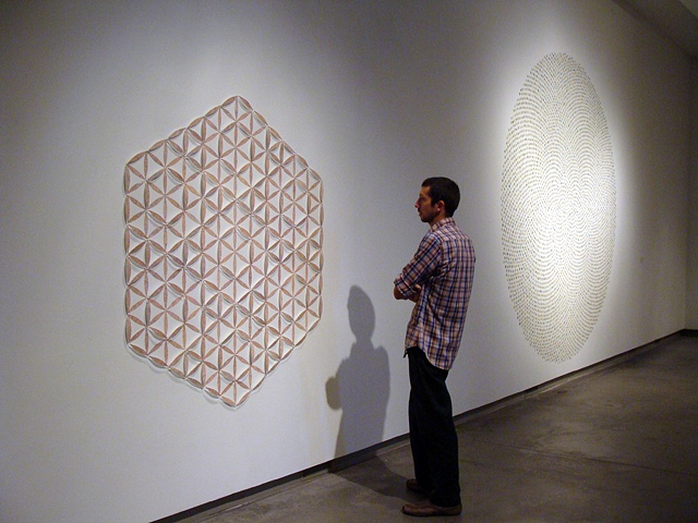 Installation using maps and pins for the 2009 Biennial Juried Exhibition titled Aggregate by Shannon Rankin