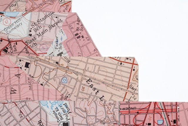 map collage made with urban city maps titled Landmark for the exhibition Fathom at the CMCA in May 2011 by Shannon Rankin