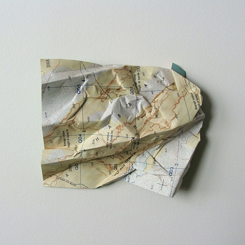 map collage made with map and acrylic paint titled Terrain (Yellow No. 1) for the exhibition Disperse / Displace at Gallery Voss in October 2010 by Shannon Rankin