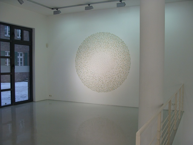 Installation made of maps for Disperse Displace exhibition at Gallery Voss by Shannon Rankin