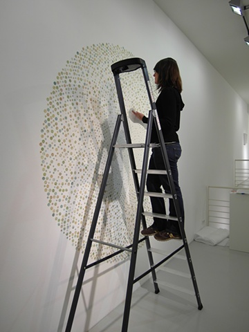 Installation made of maps in progress for Disperse Displace exhibition at Gallery Voss by Shannon Rankin