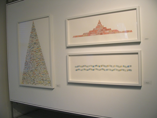 Framed map collages for Fathom exhibition at the CMCA by Shannon Rankin