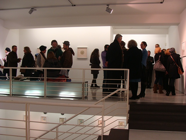 Photograph of opening reception for Disperse Displace exhibition at Gallery Voss by Shannon Rankin