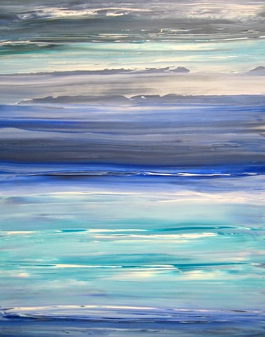 original, painting, abstract, ocean, water, blue, white