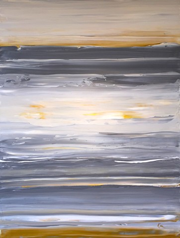 gold, white, sky, abstract, painting, original