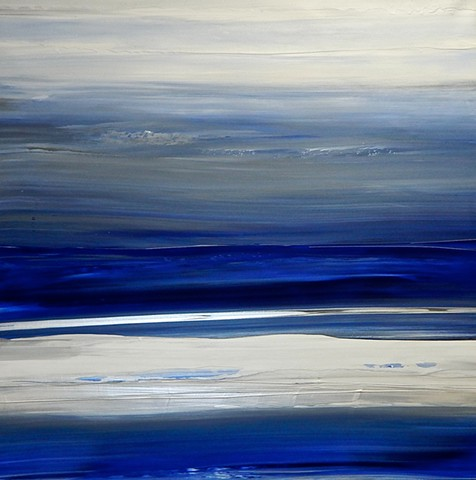 abstract, blue, white, metallic, painting, original, acrylic