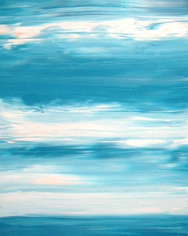 blue, white, water, abstract, painting