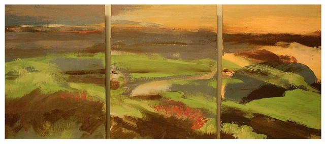 Golf Course by the Ocean (triptych)