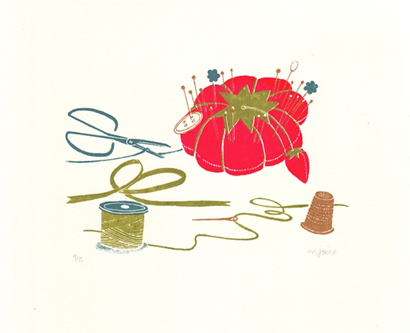 sweet, notions,silkscreen,print,pin cushion,snips,thread,pins,button,thimble,ribbon