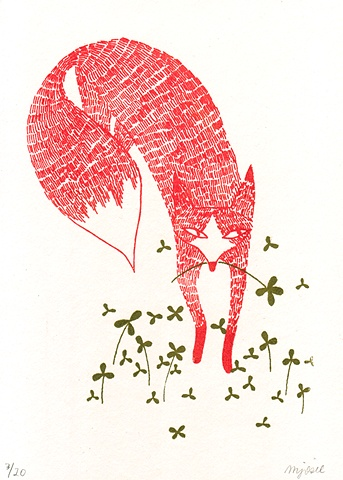 Fox,Clover,silkscreen,greeting,card