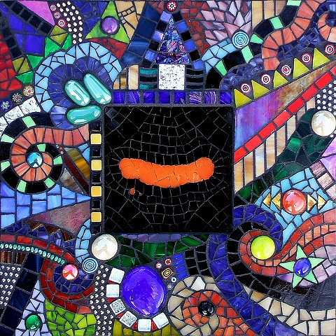 Exciting stained glass mosaic with lots of patterns