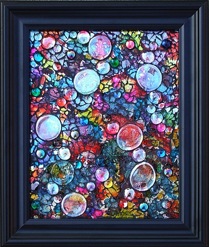 Colorful tempered glass mosaic