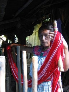 Rosa Demonstrating Her Weaving Technique, Traditional Loom