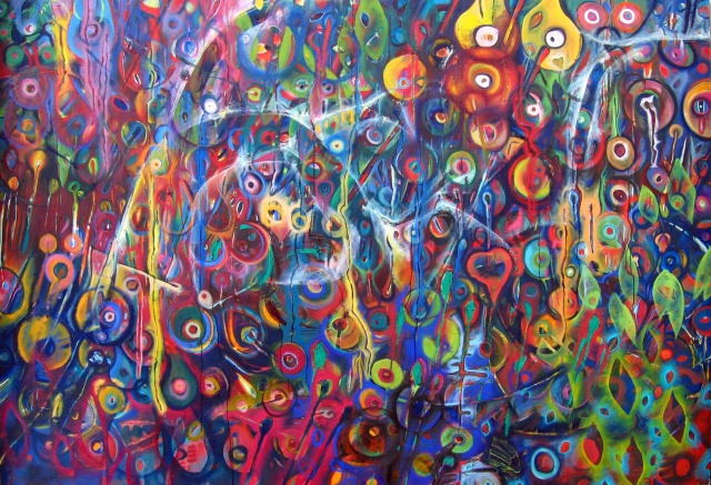 Public art, mural, oil on canvas, abstraction, painting, large, nature, political