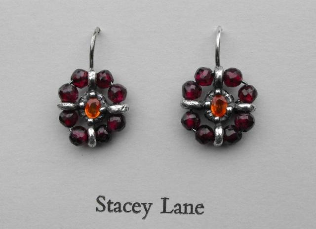 Orange Sapphire and Garnet Surround Earrings