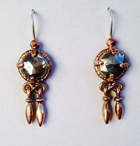 Rose Cut Pyrite Trembling Earrings