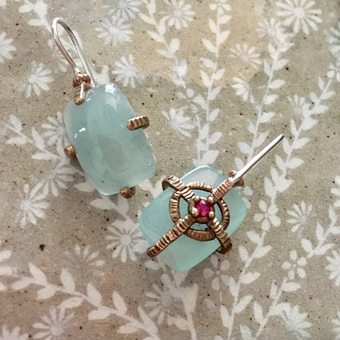 Reliquary Earrings with Rectangular Green Stones