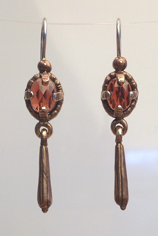 bronze, garnet, earrings, cast