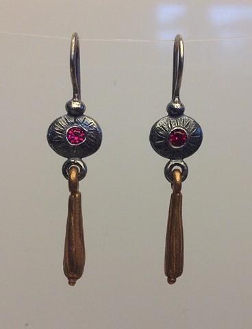 Trembling Earrings with Lab Grown Rubies