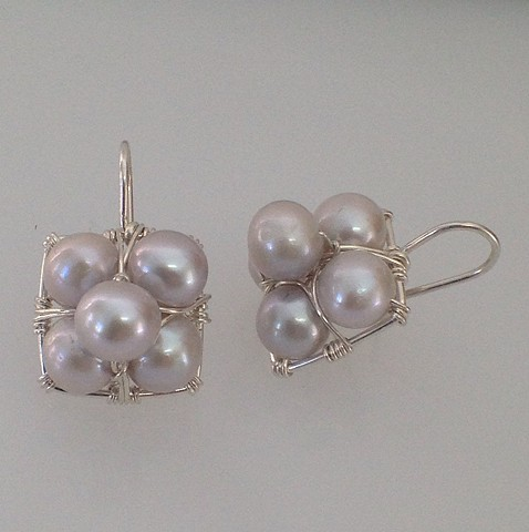 Light Grey Pearl Stacked Earrings