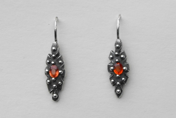 Vesica Piscis Orange Sapphire Earrings