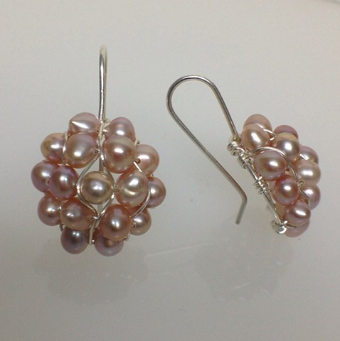 Sterling silver and pink pearl earrings