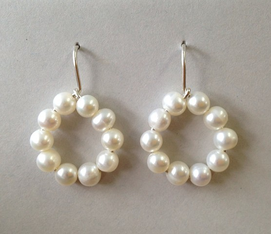 White Pearl Open Loop Earrings