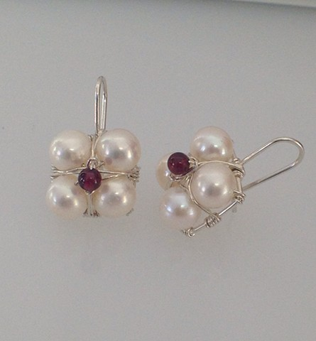 White Pearl and Garnet Stacked Hanging Earrings
