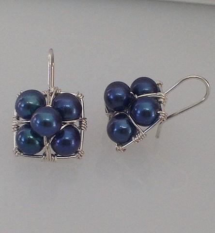 Dark Grey Stacked Hanging Earrings