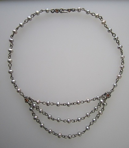 Tiered Grey Pearl and Sapphire Necklace