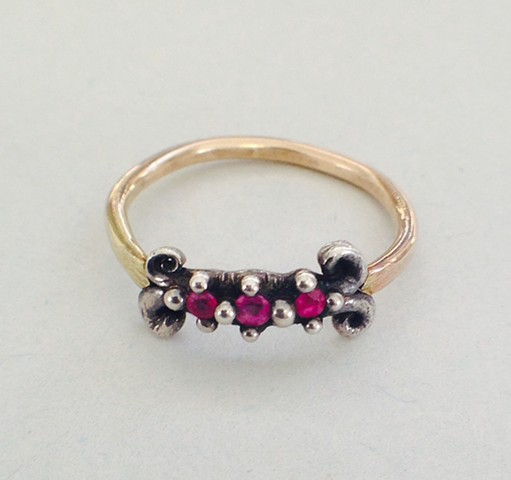 Sterling silver 14k gold scroll ruby red